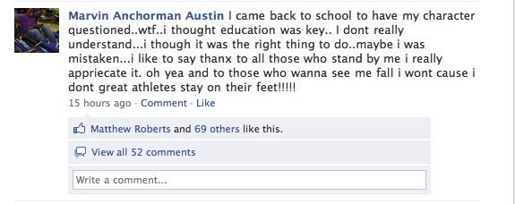 Marvin Austin Facebook Status