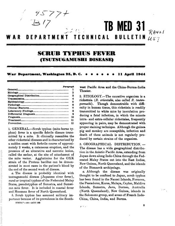 United States. War Department - War Department Technical Bulletin TB MED 31: Scrub Typhus Fever (Tsutsugamushi Disease)