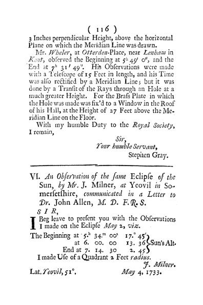J. Milner - An Observation of the Same Eclipse of the Sun, by Mr. J. Milner, at Yeovil in Somersetshire, Communicated in a Letter to Dr. John Allen, M. D. F. R. S.