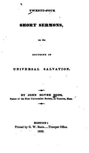 Twenty-four Short Sermons: On the Doctrine of Universal Salvation