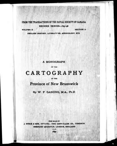 A monograph of the cartography of the province of New Brunswick