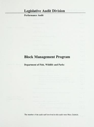 Block Management Program, Department of Fish, Wildlife and Parks by Montana. Legislature. Legislative Audit Division.