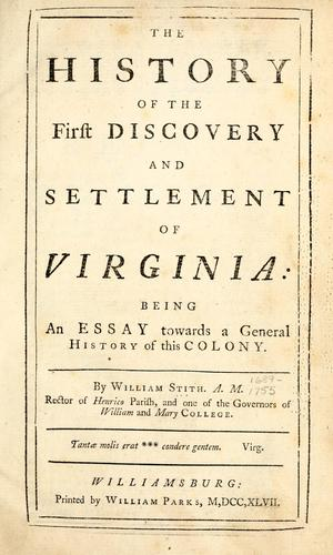 Download The history of the  first discovery and settlement of Virginia