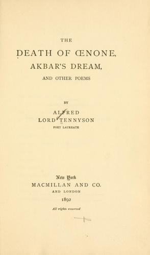 Download The death of Oenone, Akbar's dream, and other poems.