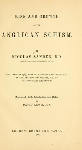 Download Rise and growth of the Anglican schism