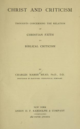 Christ and criticism