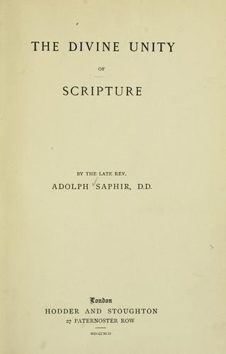 The divine unity of Scripture.