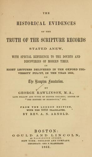 Download The historical evidences of the truth of the Scripture records stated anew