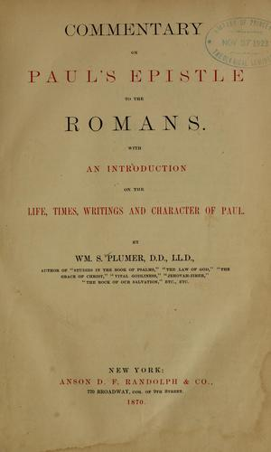 Commentary on Paul's Epistle to the Romans.