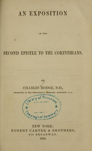 Download An exposition of the Second epistle to the Corinthians.
