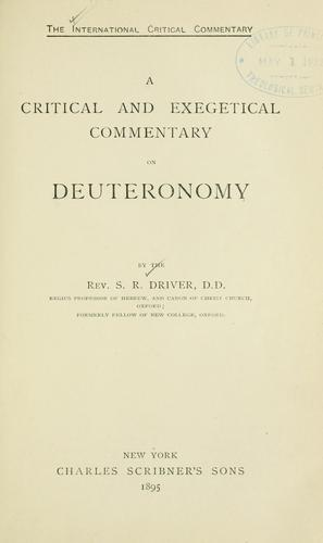 A critical and exegetical commentary on Deuteronomy.