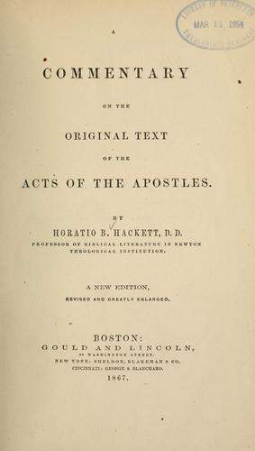 Download A commentary on the original text of the Acts of the Apostles.