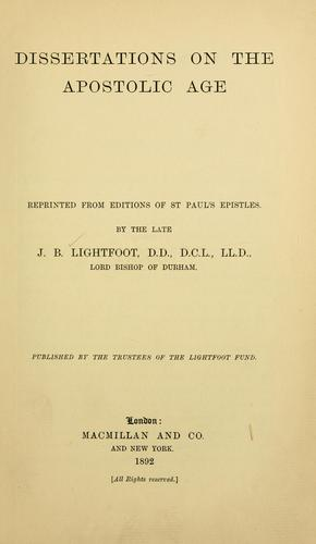 Download Dissertations on the apostolic age