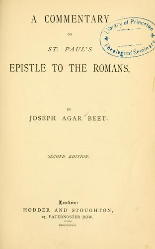 A commentary on St. Paul's epistle to the Romans