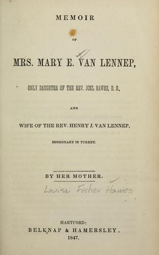 Memoir of Mrs. Mary E. Van Lennep