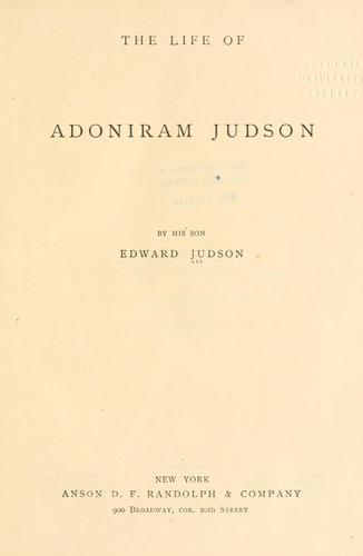 The life of Adoniram Judson