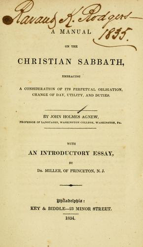 Download A manual on the Christian Sabbath …