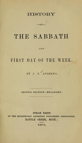 Download History of the Sabbath and first day of the week