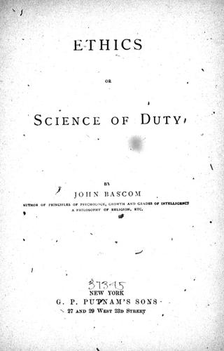 Ethics, or, Science of duty