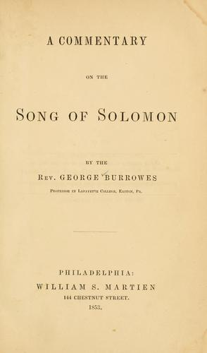 Download A commentary on the Song of Solomon.