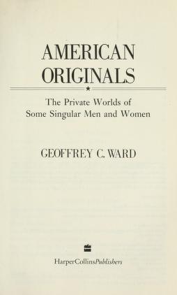 Cover of: American originals   Geoffrey C. Ward