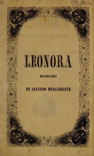Cover of: Leonora | Saverio Mercadante