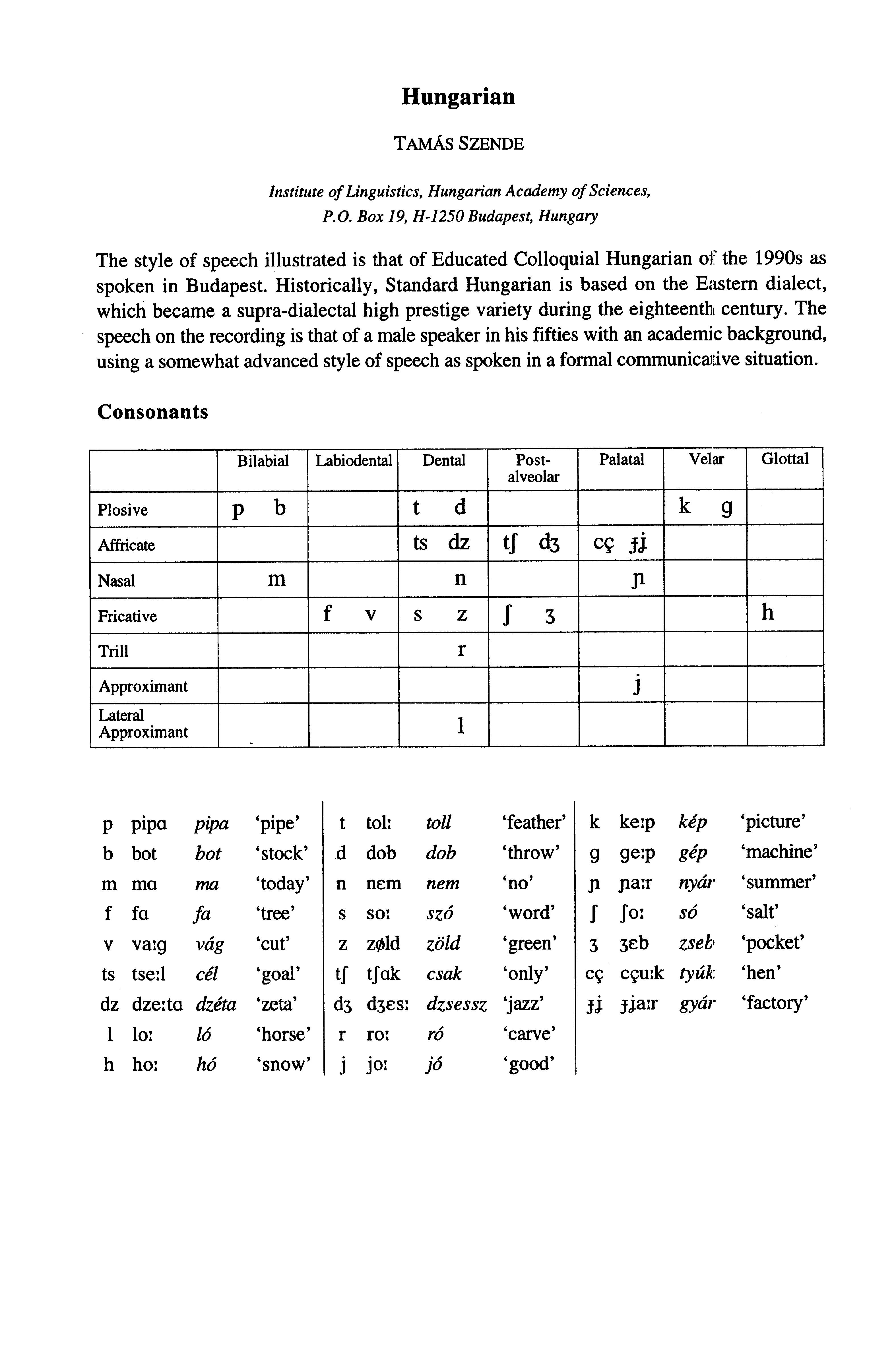 Handbook Of The International Phonetic Association A Guide To The Use Of The International Phonetic Alphabet Hungarian Szende Tamas Free Download Borrow And Streaming Internet Archive