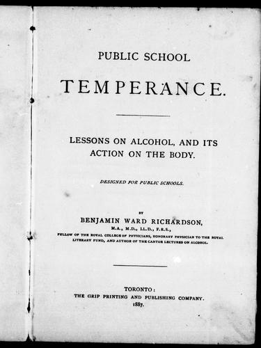 Public school temperance by Richardson, Benjamin Ward Sir