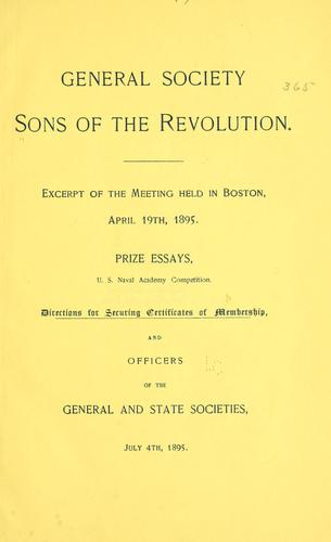 Excerpt of the meeting held in Boston, April 19th, 1895 by Sons of the revolution.
