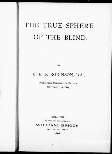 The true sphere of the blind by E. B. F. Robinson