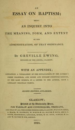 An essay on baptism by Greville Ewing