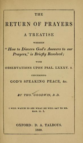 The return of prayers by Goodwin, Thomas