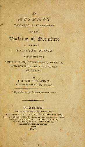 An attempt towards a statement of the doctrine of Scripture by Greville Ewing